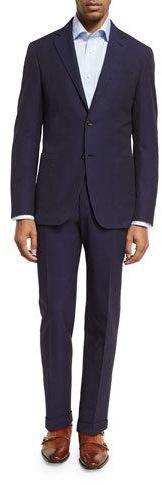 Canali Seersucker Cotton Two-Piece Suit, Navy