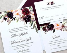 Autumn Wedding Invitations // A rustic fall watercolor floral wedding invitation suite with red, burgundy, blush and plum flowers is the perfect choice for the an elegant affair. Customization: View font, ink and paper choices in the images above. THIS SUITE: S2, S15 & Typeface G in
