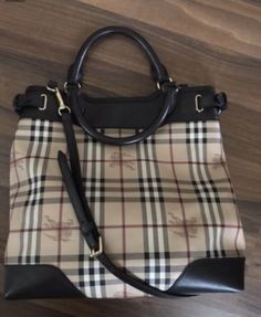 a6629d98b2c Authentic BURBERRY Haymarket Check Medium Regent Tote Beige Brown Bag   eBay