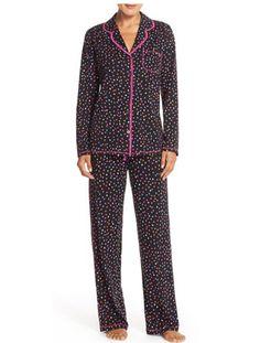 At Nordstrom: DKNY Print Jersey Pajamas (Petite) 60% cotton, 40% rayon.