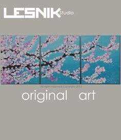 """Japanese Cherry Blossom Large Painting Tree Branch Original Triptych Acrylic Painting 48""""x20"""" on 3 canvases Large Wall Art"""