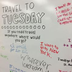 """If you could travel anywhere, where would you go?"" wherever ice cream is  I like you kid!  ______ Love these random whiteboard messages!! I bought the pack from @miss5th yesterday, projected it on my screen today, and traced it onto my board ✌️"