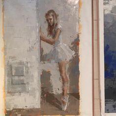 Finishing up... Oil on linen. Eternal One. #fineart #fineartgallery #womenartists #originalart #painting #painterly #oilpainting #oil #contemporaryart #contemporarypainting #fineartamerica #ballerina #figurative #largepainting #paletteknife #limitedpalette