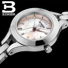 Switzerland Binger Women's watches fashion luxury clock quartz sapphire full stainless steel Wristwatches B3035-3 #Affiliate