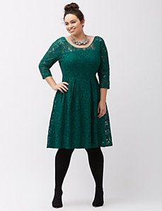Illusion lace fit & flare dress