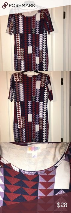 LuLaRoe Julia Dress LuLaRoe Julia Dress - Size Large.  Worn once and hand washed.  Beautiful shades of lilac, burgundy, dark blue and white.  Can be worn during any season - great in winter with leggings and boots! LuLaRoe Dresses Midi