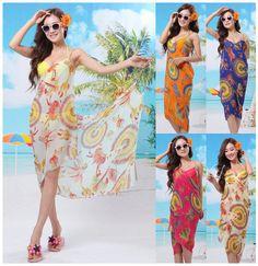 2014 Feather Pattern Chiffon Spaghetti Strap Beige Beach Dress Printed,Women Swimwear Cape Dress,Summer Beach Towel,Cover-Ups(China (Mainland))