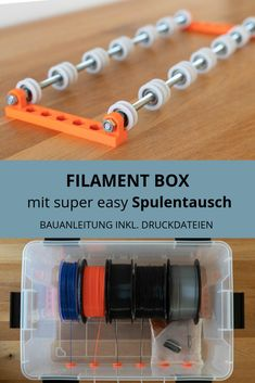 DIY Filament Box mit super easy Spulentausch Foolproof bobbin exchange with this DIY filament box. With this simple construction manual including free print files you can build a filament box to achie 3d Printer Designs, 3d Printer Projects, 3d Projects, 3d Printer Parts, Printer Scanner, 3d Prints, Free Prints, Microsoft Surface, 3d Printing