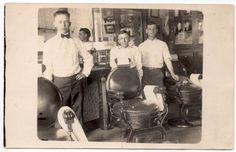 Real Photo Postcard Interior of a Barber Shop, Barbers, Chairs~107874
