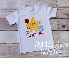 Boys or Girls Summer Beach Starfish Children's Appliqued Shirt, Appliqued Shirt, Personalized Free by ThePerfectWallet on Etsy