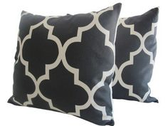 possibilities for the gray chairs  Pair of Decorative Designer Pillow Cover Black and by nenavon