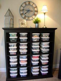 This is a neat and organized way to store all those fabric scraps from old projects.