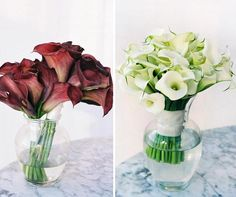Consider a bridal bouquet of all-white Calla lilies accented by smaller bridesmaids' bouquets in deep red.