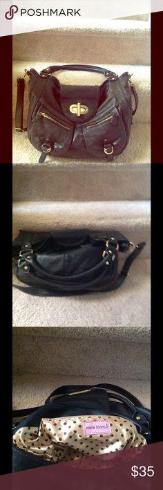 Black purse Crossbody and handbag- Vegan Leather Black purse gold hardware, long strap and handbag Melie Bianco Bags Crossbody Bags