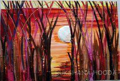 Whispering Woods (B) in warm colors Original Painting by Rukshana Hooda + Frame