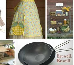 MaryJanesFarm kitchen products. Click here for aprons, shelving, and utensils.