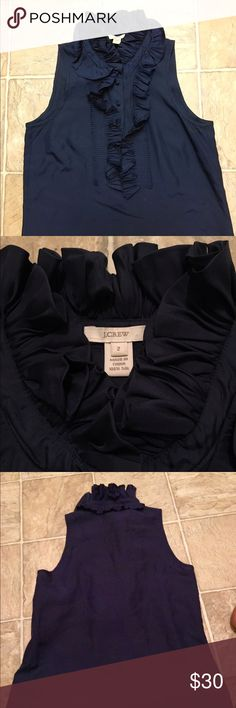 """J. Crew Victoria Ruffle Cami """"sophisticated double ruffle, micro pleated collar that makes a chic and unforgettable statement."""" SOLD OUT ONLINE! half button up, 100% silk. needs dry cleaning, reflected in price. J. Crew Tops Blouses"""