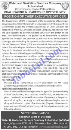 New Jobs in Abbottabad Water and Sanitation Services Company 2021 has been announced through the advertisement and applications from the suitable persons are invited on the prescribed application form. In these Latest WSSC Abbottabad Jobs the eligible Male/Female candidates from across the country can apply through the procedure defined by the organization and can get ... Read more The post New Jobs in Abbottabad Water and Sanitation Services Company 2021 appeared first on JobUstad.