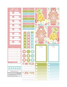Pineapple Sunrise Planner Stickers - Fit Life Creative