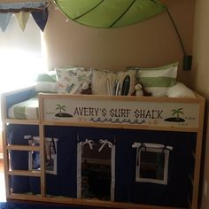 Materials: I kea Kura bed, vinyl lettering/design & Maxtrix Bed curatins Description: So I love the Ikea Kura bed…..now! We were moving our 2 1/2 year old to a big boy bed & we wanted something fun & functional! Who doesn't? We didn't want to spend $1000 on a bed, so after seeing a few [&hellip