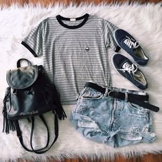 Strip T-shirt and Cut-out Shorts via
