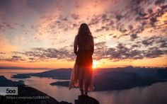 Suns Descent by elizabethgadd  BC clouds girl sea sky summer sunset water woman st Mark's Summit Sun's Descent elizabethgadd