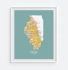 CHICAGO ILLINOIS VINTAGe STATE MAP PRINT City state town home hometown retro vintage Chicago White sox Cubs Bearshousewarming gift You Choose from