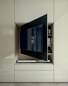 Sectional lacquered wood and glass wardrobe with built-in TV ROOMY | Wardrobe with built-in TV - Caccaro