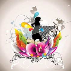 Floral Abstract Girl Silhouette Vector Background - http://www.dawnbrushes.com/floral-abstract-girl-silhouette-vector-background/