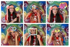 The hippie photo booth props for a sixties party or flower power theme are here. Available in our etsy store here: The props were made initially for a customer as a special request order, but now a...
