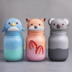 Animal kawaii drinks - pinguin, fox and koala