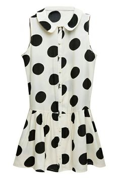 #Romwe White Dotted Sleeveless Dress