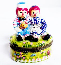 Raggedy Ann & Andy Doll figurines Hinged porcelain decorative Trinket Box | eBay
