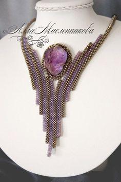 """Купить Колье """"Полет мечты"""" из бисера с аметистом - фиолетовый, серый, серебро, квадратный жгут, никель"""