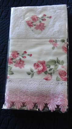 Add to pre finished pillowcases. Pretty print and lace. Dish Towels, Hand Towels, Tea Towels, Sewing Crafts, Sewing Projects, Personalized Towels, Lavender Bags, Embroidered Towels, Decorative Towels