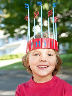 Duct tape and drinking straws make easy red, white and blue crowns.
