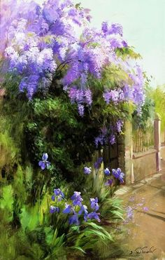 Find this Pin and more on Serguei Toutounov. Watercolor Flowers, Watercolor Paintings, Beautiful Paintings, Painting Inspiration, Flower Art, Landscape Paintings, Amazing Art, Scenery, Art Gallery