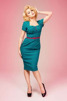 Sexy 1940s teal wiggle dress with black polka dots made with figure flattering stretch bengaline. | Pinup Girl Clothing
