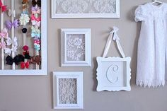20 great diy ideas for decorating with lace 12 craft ideas and do it yourself divas diy framed lace for baby girl nursery solutioingenieria Choice Image