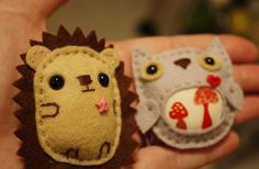 Hedgehog & Owl brooches by Danielleorama, via Flickr
