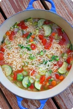 """Ramen Vegetable Soup""...  just using the noodles not the seasoning packet.... ""This is an awesome recipe"". Use vegetable broth for Vegetarian & Vegan."