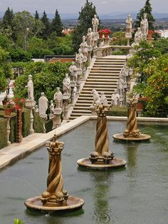 Castelo Branco gardens, with its sculptures and foutains, Portugal