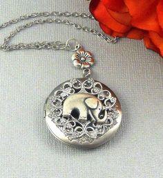 Elephant Locket Necklace Silver Locket Jewelry Womens Locket Bridesmaid Locket Wedding Jewelry Lucky Elephant Gift