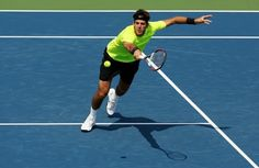 MASON, OH - AUGUST 17:  Juan Martin Del Potro of Argentina stretches for a volley against Jeremy Chardy of France during day seven of the Western & Southern Open at Lindner Family Tennis Center on August 17, 2012 in Mason, Ohio.  (Photo by Nick Laham/Getty Images)