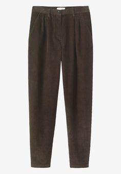 Gently tapered, pleat-front trousers in velvety soft, supple, 8 wale corduroy. Two pockets. Button and jetted back pocket. Fly zip and button to fasten. Look particularly good worn rolled.