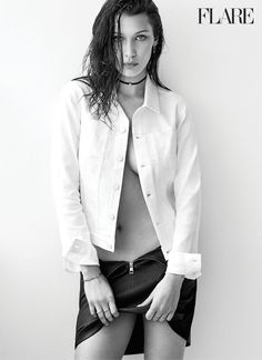 Bella Hadid rocks Calvin Klein Jeans top and skirt for FLARE Magazine October 2016 issue