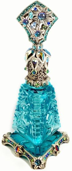 Turquoise Glass Art Deco Jewelled & Silver Metal Perfume Bottle w/Ornate Collar, Stopper Top & Base ✿≻⊰❤️⊱≺✿.