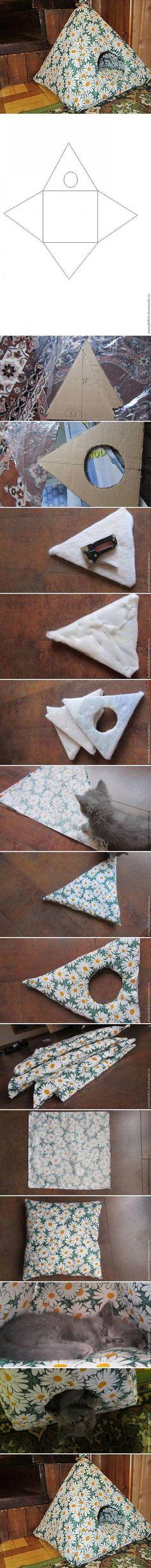 Katzenhöhle selber nähen... DIY House for Cat DIY Projects | UsefulDIY.com