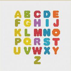 STOREWIDE HALFPRICE SALE  Polka Dot Alphabet by NeedleAndFloss