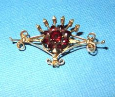 Antique Art Nouveau 14k Gold Bohemian Garnet Brooch Pin Crown and Scroll Details by Pinchrosemary on Etsy